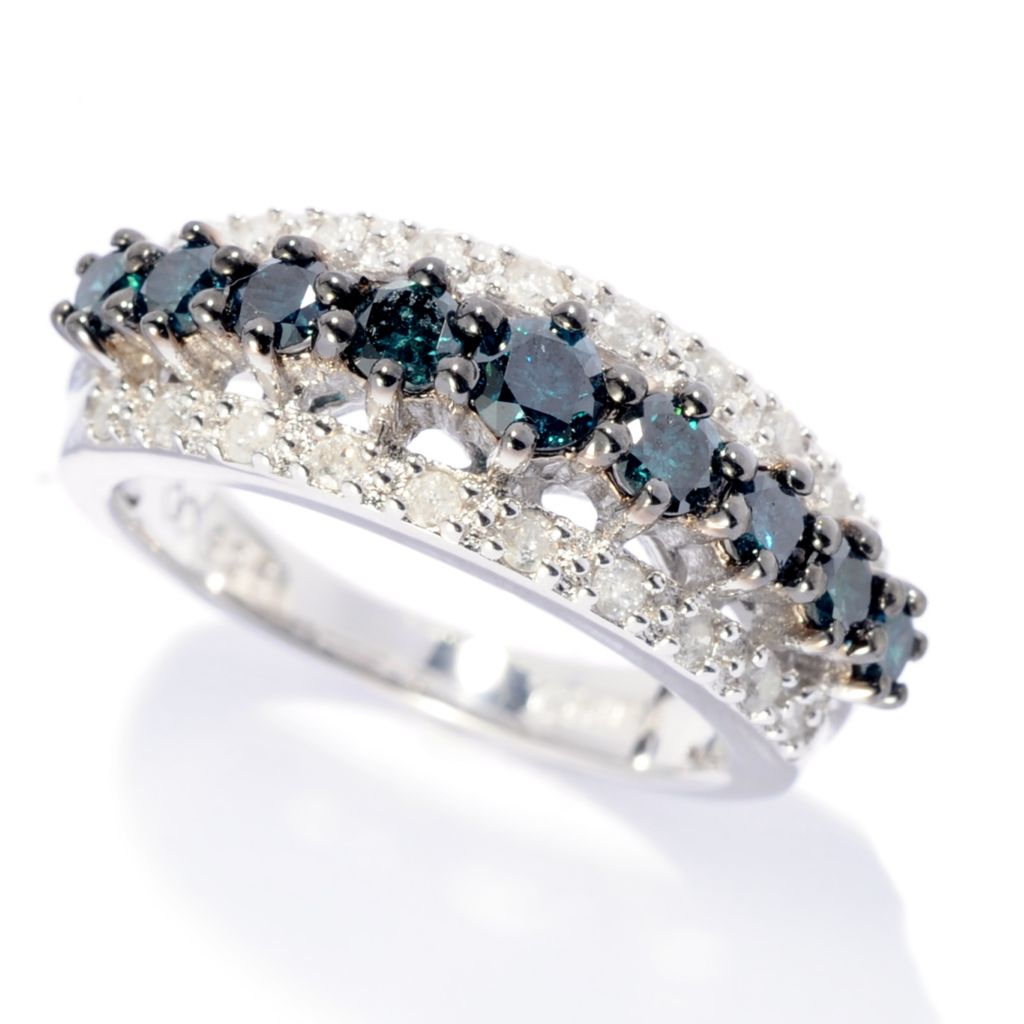 142-141 - Diamond Treasures Sterling Silver 1.00ctw Blue & White Diamond Stack Band Ring