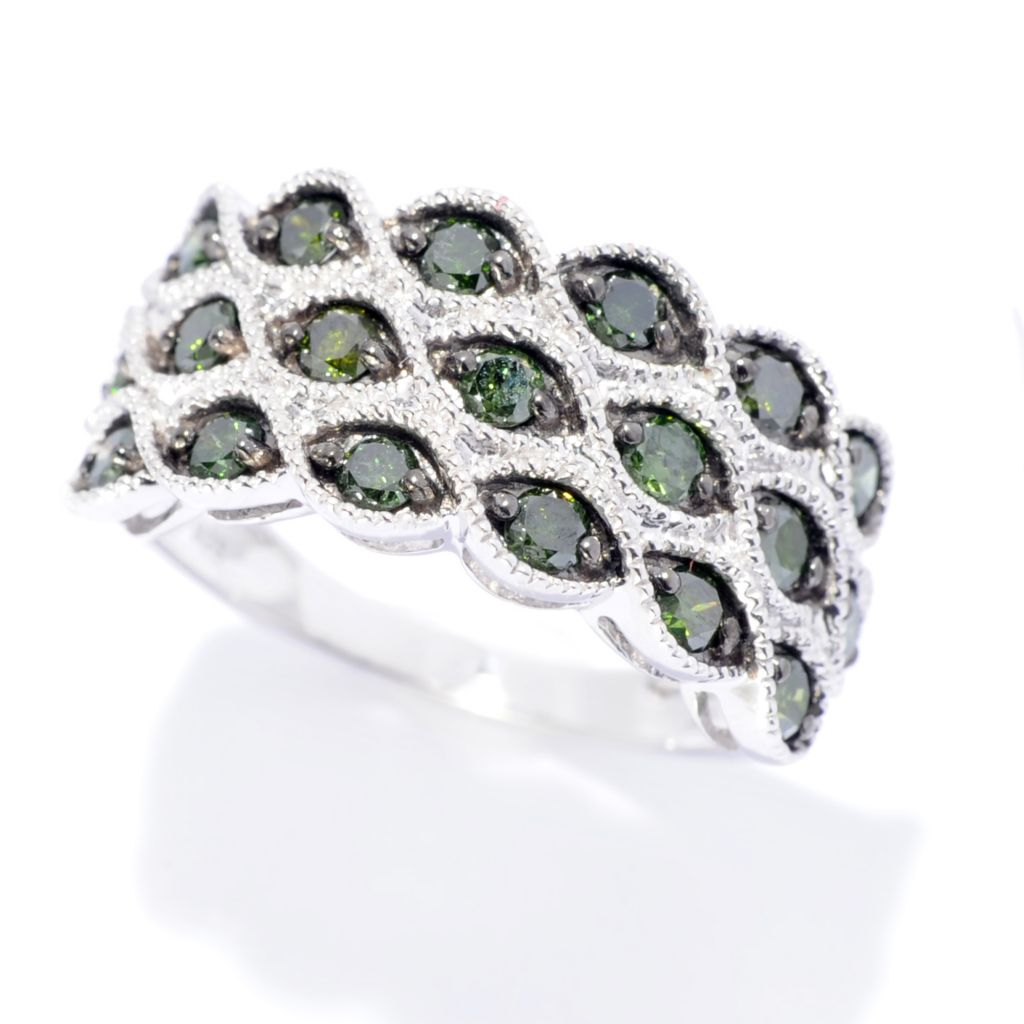 142-142 - Diamond Treasures Sterling Silver 1.00ctw Fancy Color Diamond Three-Row Ring