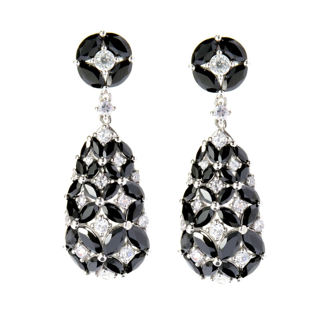"142-149 - NYC II 1.5"" 11.42ctw Black Spinel & White Zircon Drop Earrings"