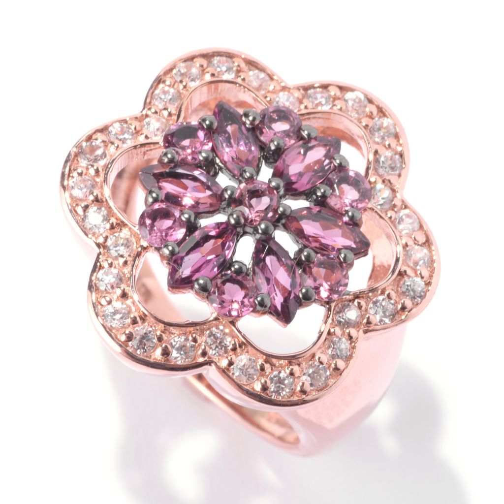 142-153 - NYC II Gemstone & Round White Zircon Flower Ring
