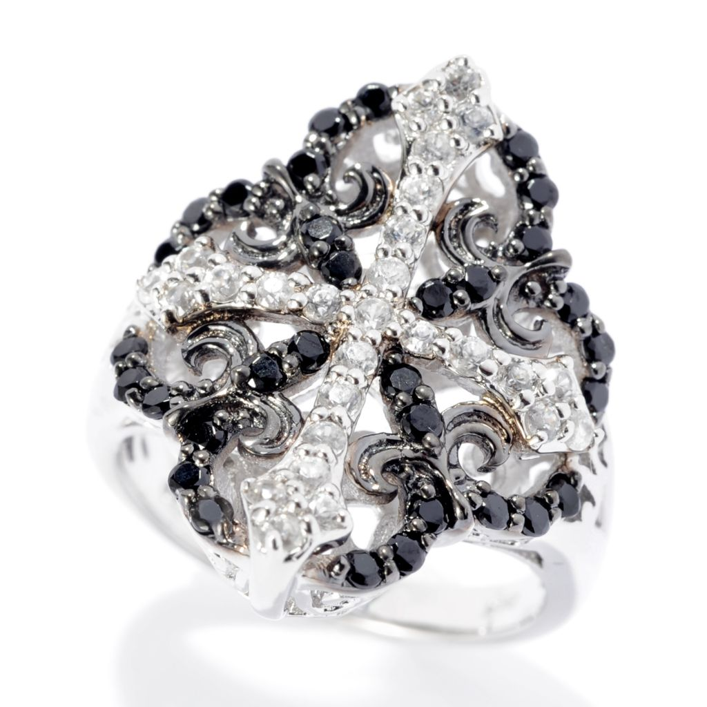 142-155 - NYC II Round Gemstone & Black Spinel Cross Ring