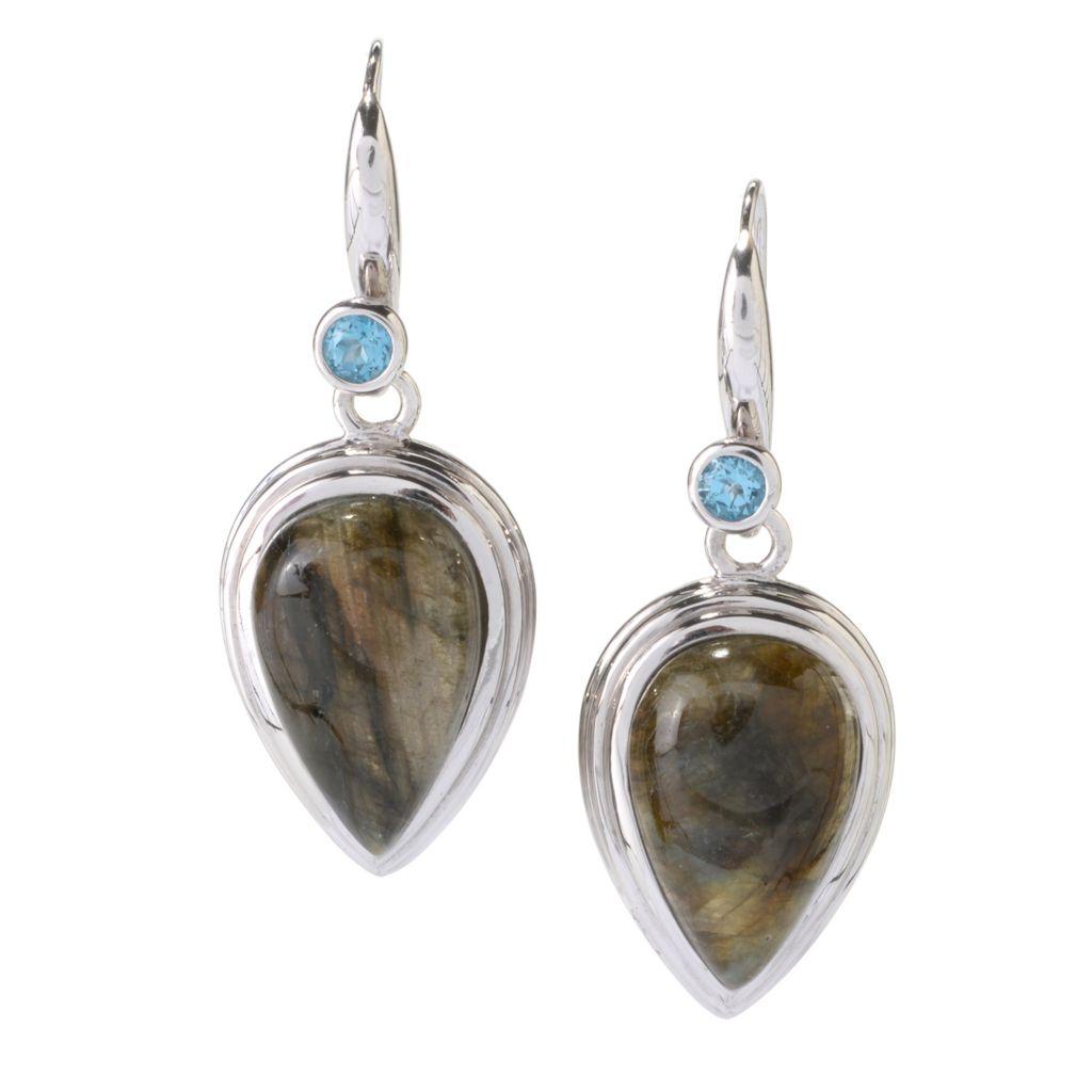 """142-156 - Gem Insider Sterling Silver 2"""" 22 x 14mm Multi Gemstone Drop Earrings"""