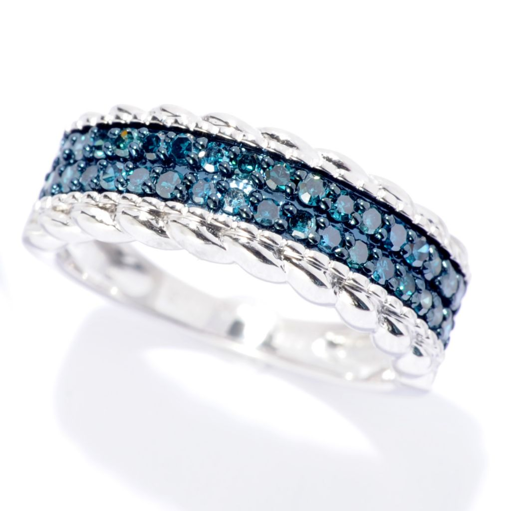 142-158 - Diamond Treasures 0.45ctw Fancy Color Diamond Textured Two-Row Ring