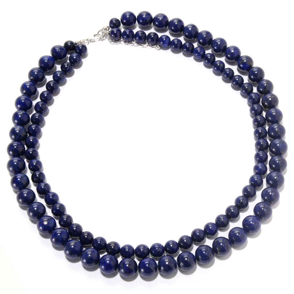 "142-160 - Gem Insider Sterling Silver 18"" Gemstone Two-Row Beaded Necklace"