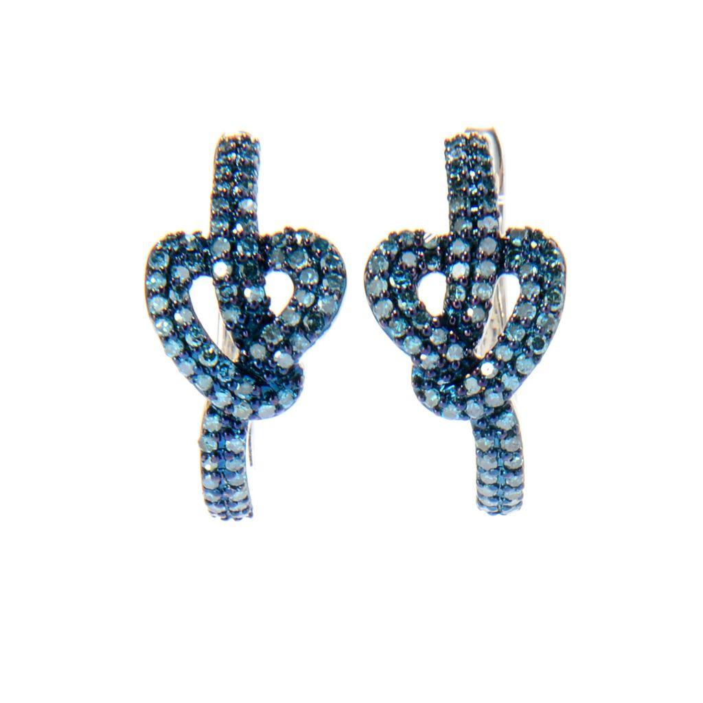 142-161 - Diamond Treasures Sterling Silver 0.65ctw Fancy Diamond Knotted Heart Earrings