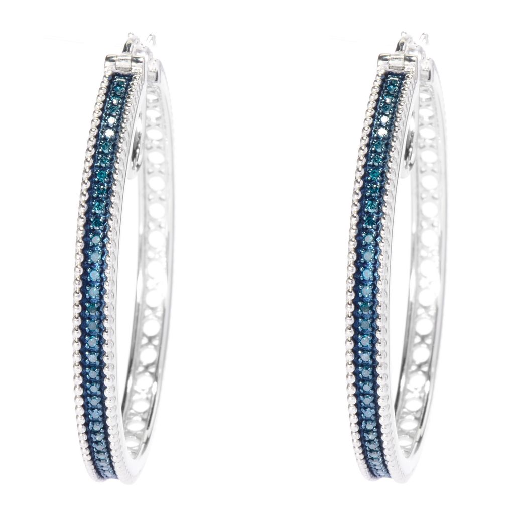 "142-162 - Diamond Treasures Sterling Silver 1.5"" 0.48ctw Fancy Diamond Hoop Earrings"