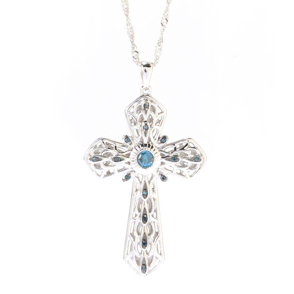 142-164 - Diamond Treasures Sterling Silver Fancy Color Diamond Cut-out Cross Pendant