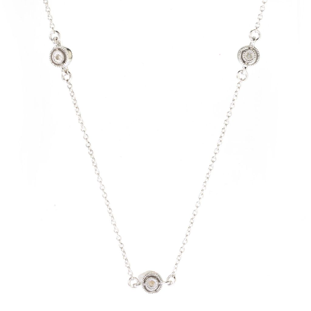 "142-165 - Diamond Treasures Sterling Silver 18"" 0.09ctw Round Diamond Station Necklace"