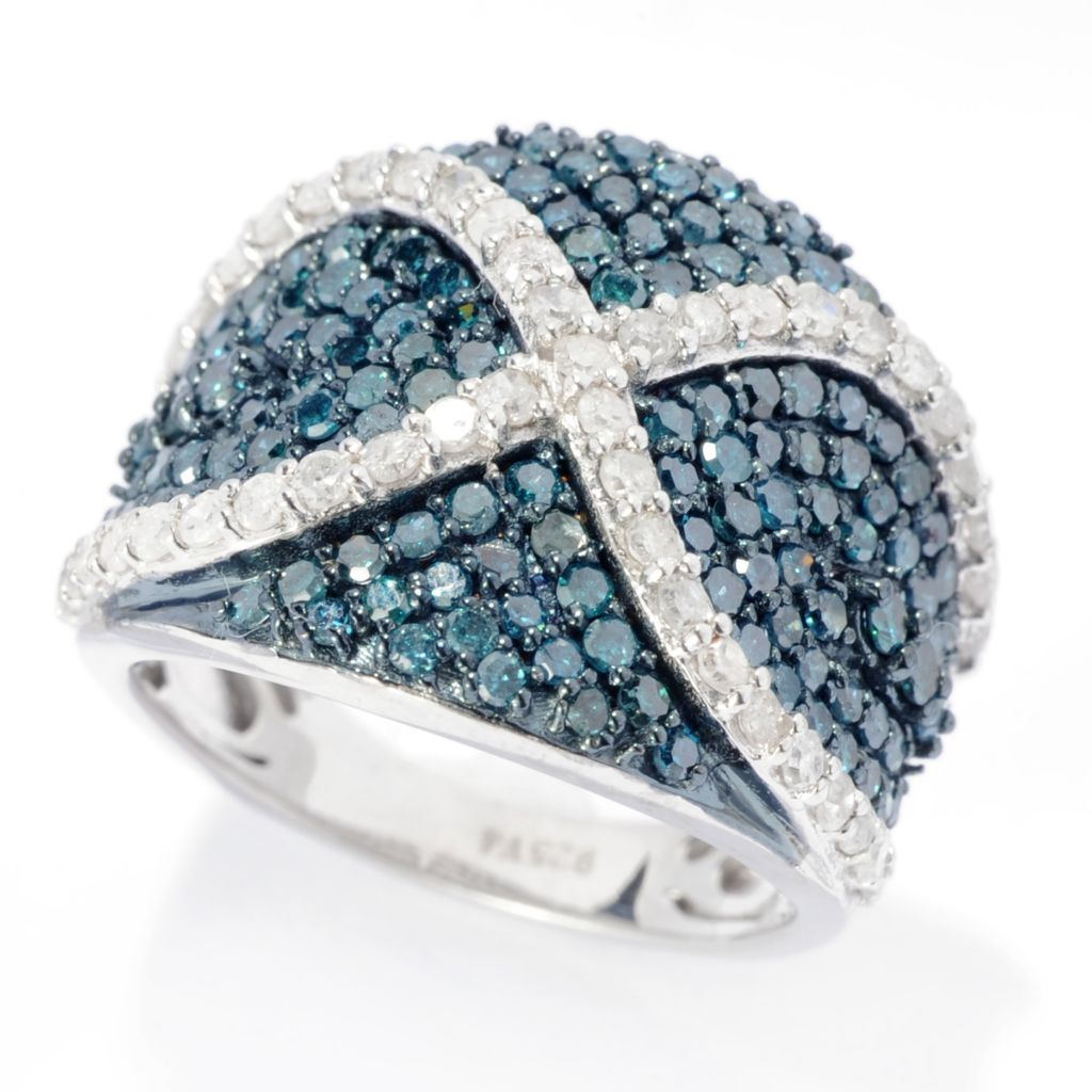 142-166 - Diamond Treasures Sterling Silver 1.96ctw Blue & White Diamond Wide Band Ring