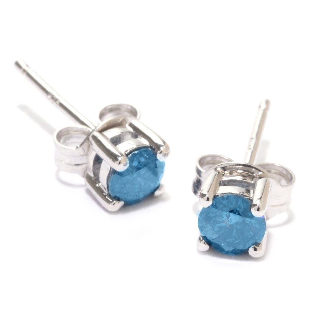 142-168 - Diamond Treasures Sterling Silver 0.46ctw Fancy Color Diamond Stud Earrings