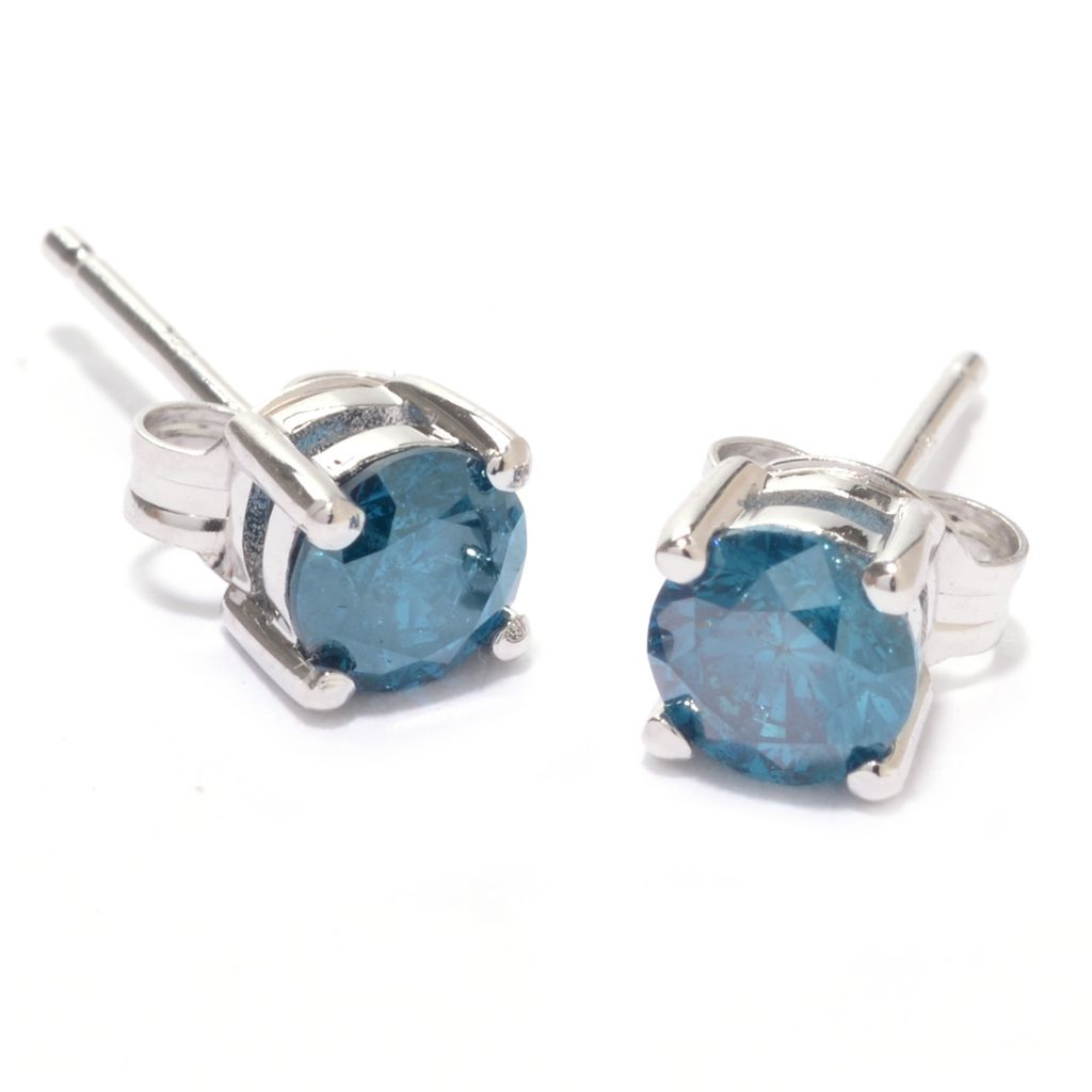 142-169 - Diamond Treasures Sterling Silver 0.96ctw Fancy Color Diamond Stud Earrings