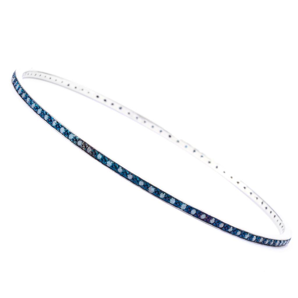 142-170 - Diamond Treasures Sterling Silver Fancy Color Diamond Pave Bangle Bracelet