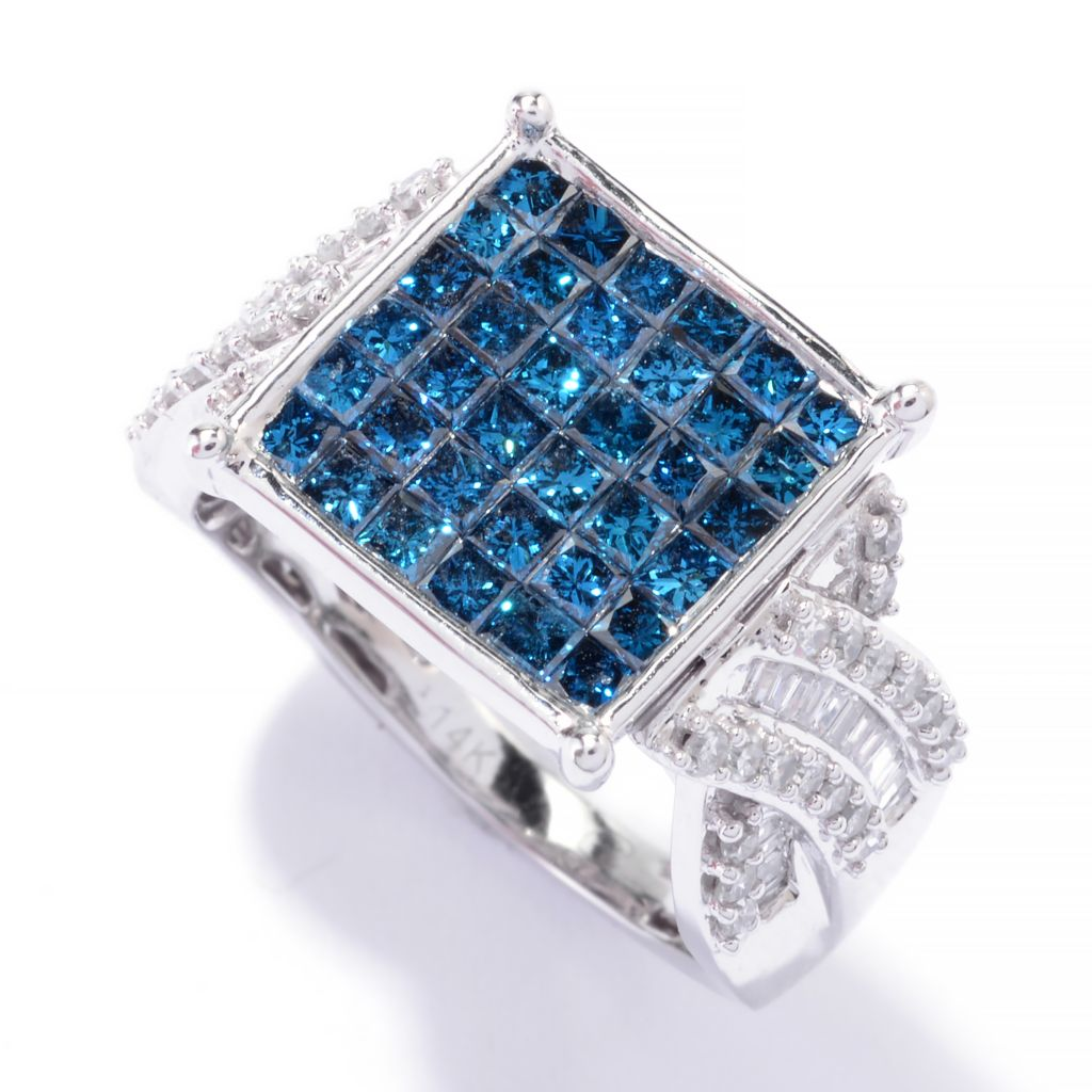 142-173 - Diamond Treasures 14K Gold 2.08ctw Princess Cut Invisible Set Diamond Ring