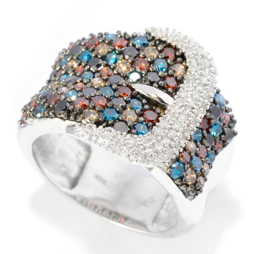 142-175 - Diamond Treasures Sterling Silver 2.01ctw Multi Fancy Diamond Wide Buckle Ring