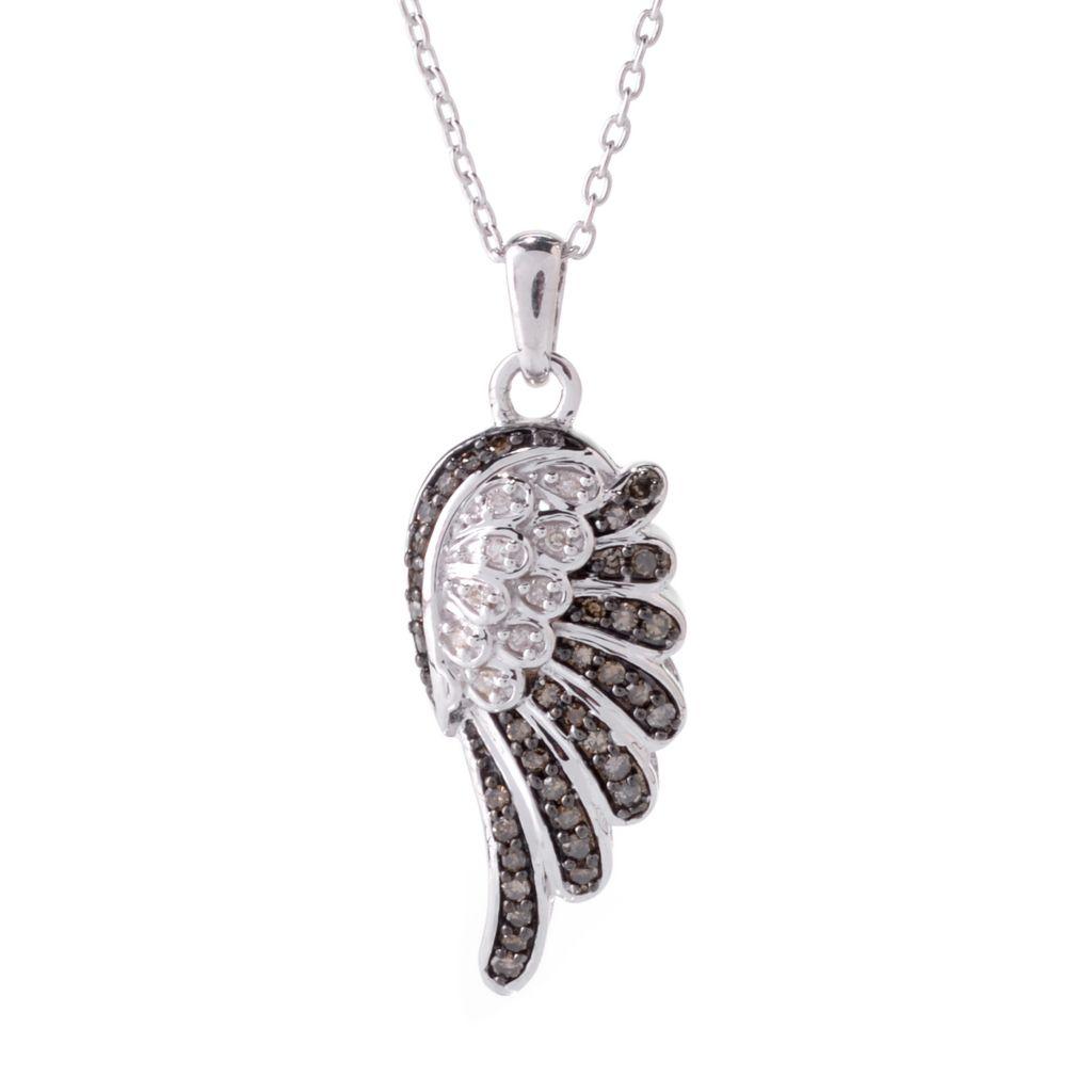 142-177 - Diamond Treasures Sterling Silver 0.26ctw Champagne & White Diamond Wing Pendant