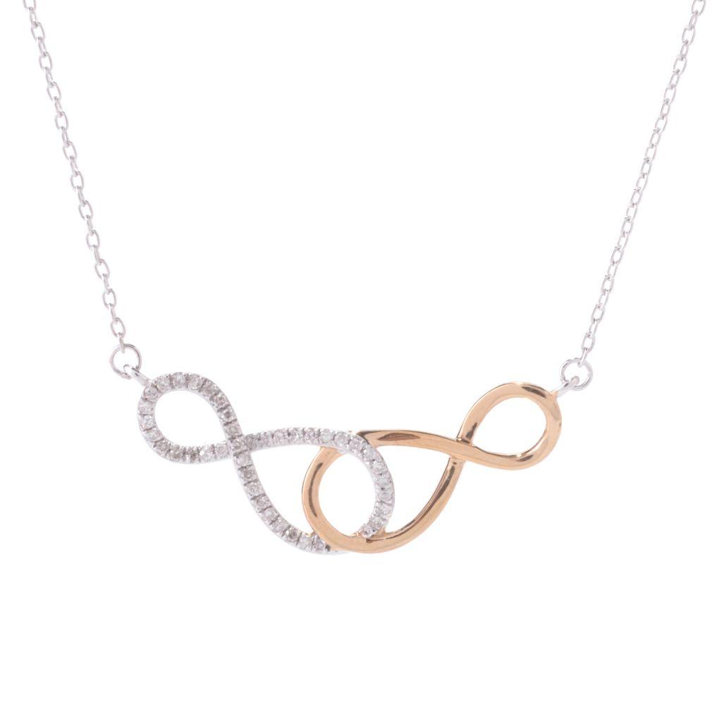 "142-178 - Diamond Treasures Two-tone 25"" 0.15ctw Diamond Interlocking Figure-8 Necklace"