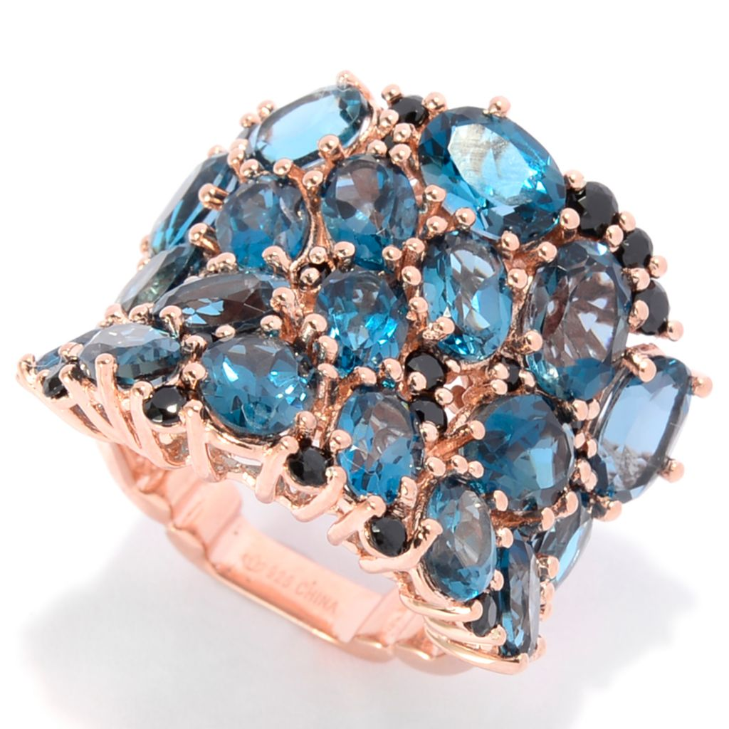 142-181 - Dallas Prince 12.90ctw Oval London Blue Topaz & Black Spinel Cluster Ring