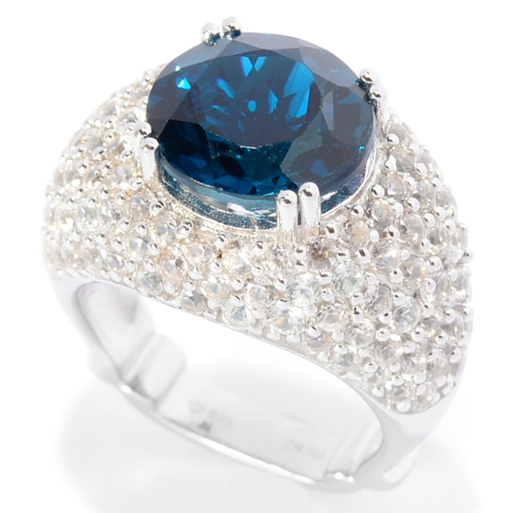 142-182 - Dallas Prince Sterling Silver 8.25ctw London Blue Topaz & White Zircon Ring
