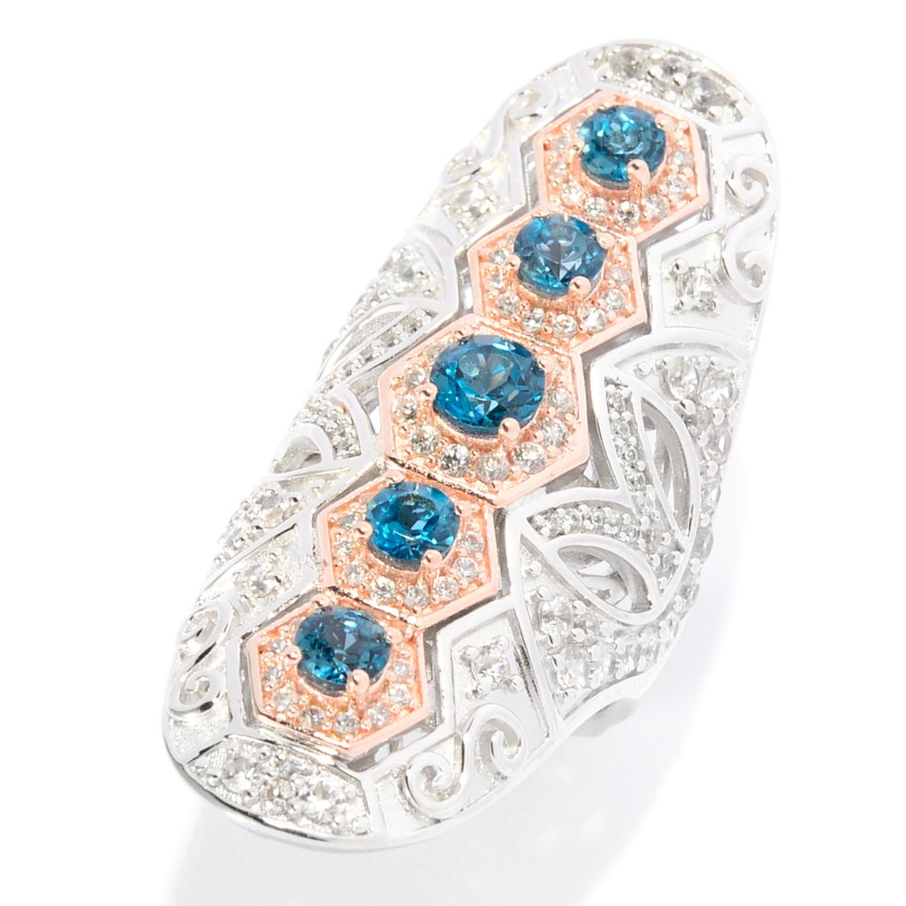142-183 - Dallas Prince Round Gemstone & White Zircon Cut-out Scrollwork Elongated Ring