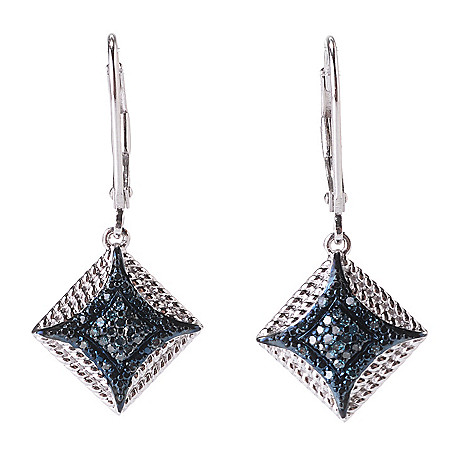 142-186 - Diamond Treasures® Sterling Silver 1.25'' 0.20ctw Fancy Diamond Square Earrings