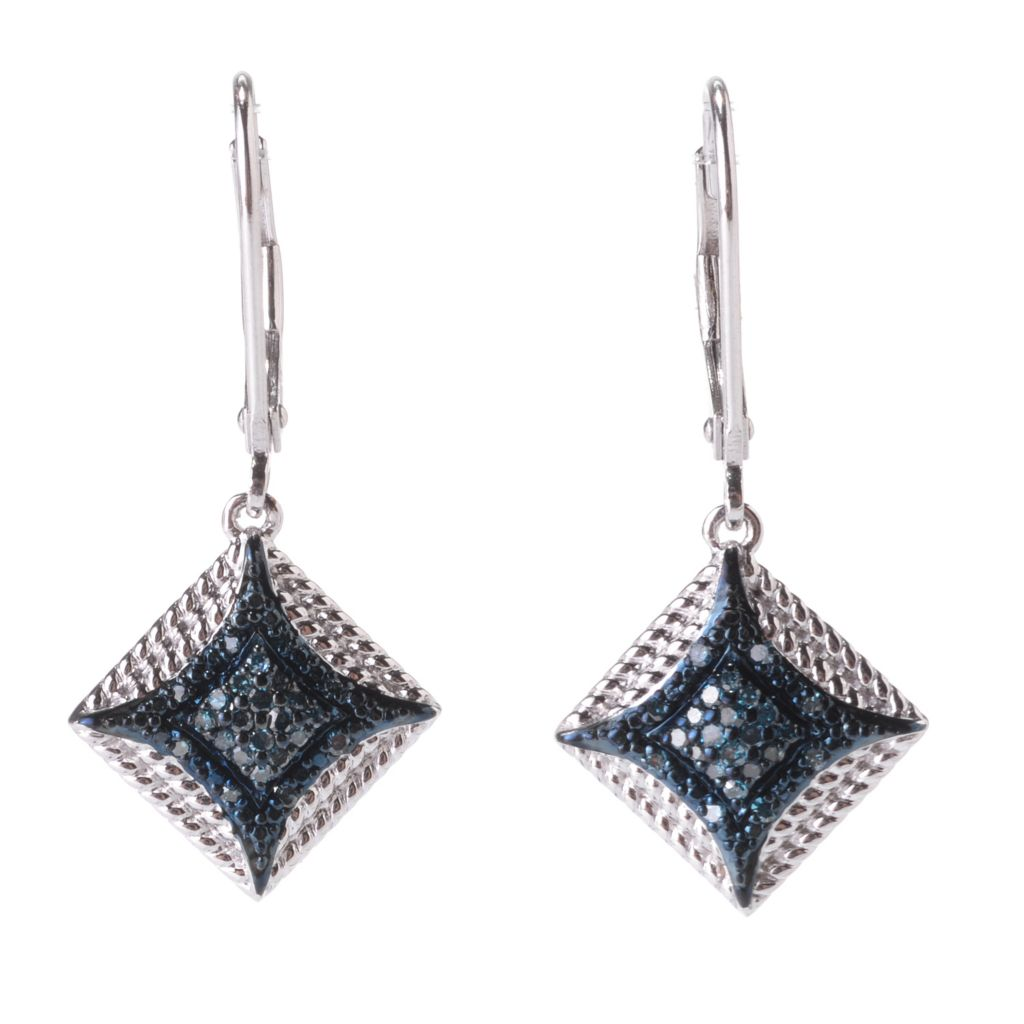 "142-186 - Diamond Treasures Sterling Silver 1.25"" 0.20ctw Fancy Diamond Square Earrings"
