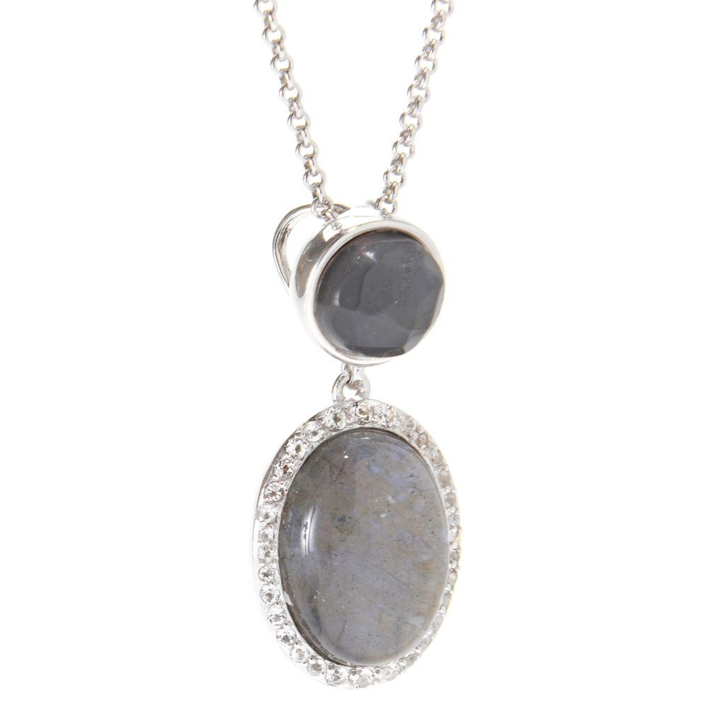 142-188 - Gem Insider Sterling Silver Oval Labradorite Quartz Doublet & Multi Gem Pendant