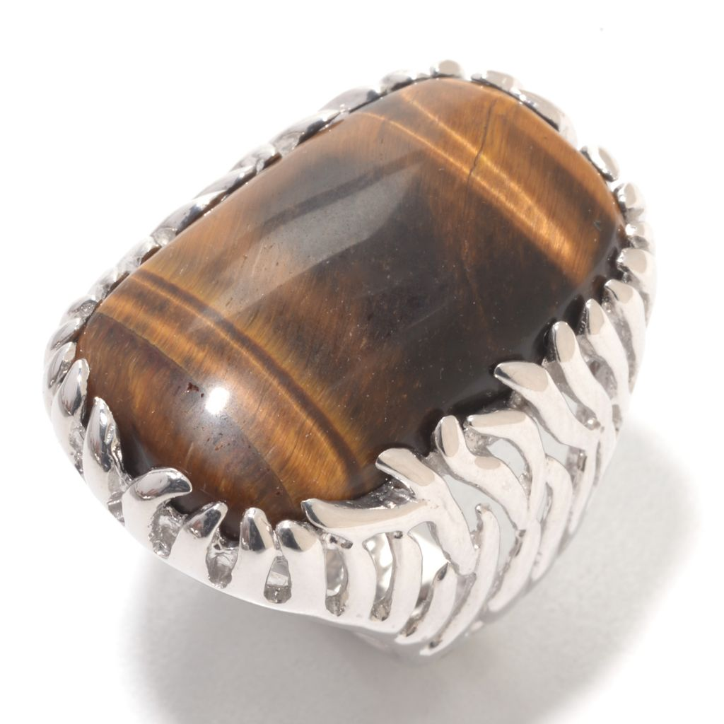 142-191 - Gem Insider Sterling Silver 25 x 15mm Cushion Shaped Tiger's Eye Ring