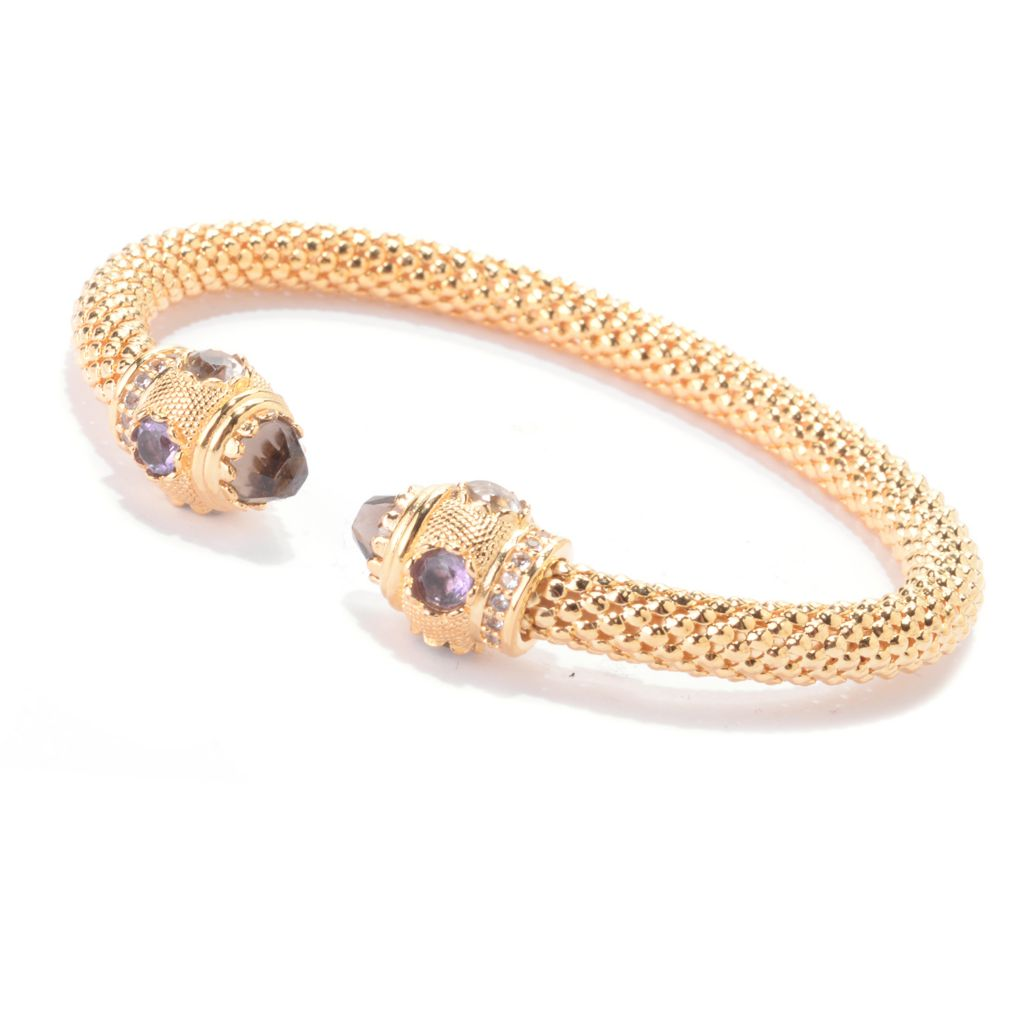 142-209 - Toscana Italiana 18K Gold Embraced™ 3.10ctw Quartz & Multi Gemstone Cuff Bracelet