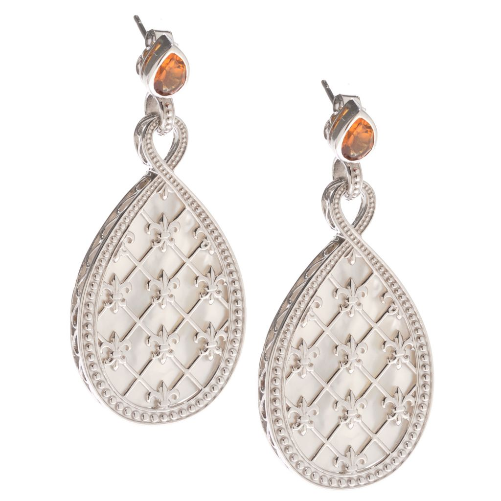 """142-210 - Dallas Prince Sterling Silver 2.25"""" 34 x 21mm Mother-of-Pearl & Gemstone Earrings"""