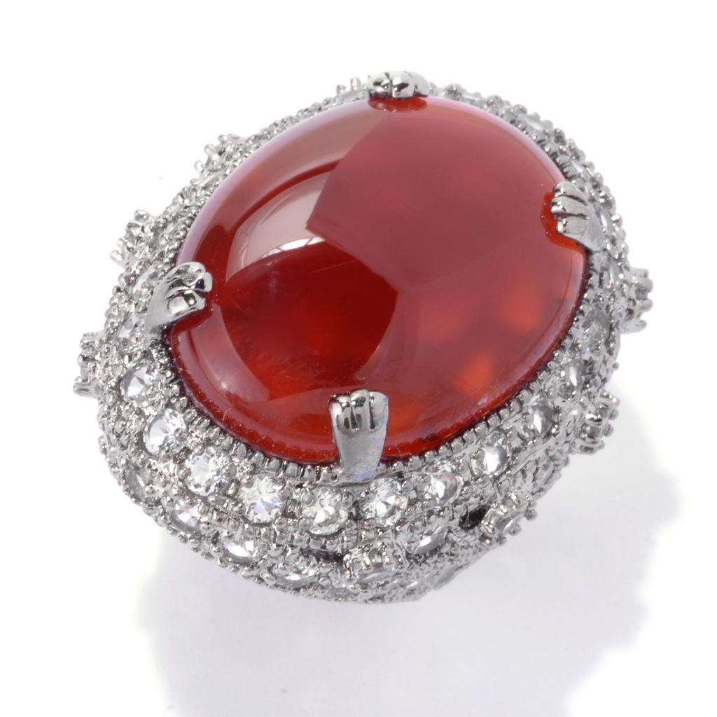 142-224 - Dallas Prince Sterling Silver 25 x 18mm Oval Carnelian & White Topaz Ring