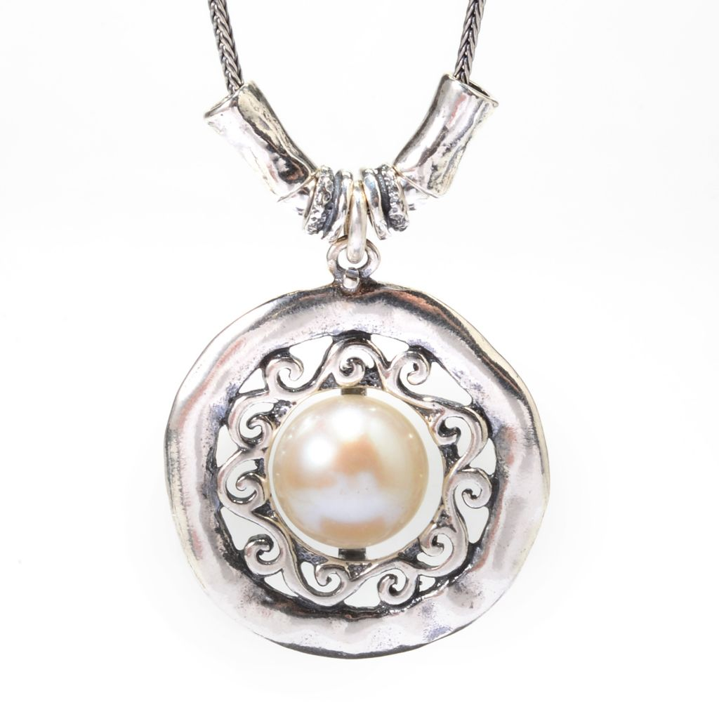 "142-235 - Passage to Israel Sterling Silver 18"" 11mm Cultured Pearl Circle Drop Necklace"