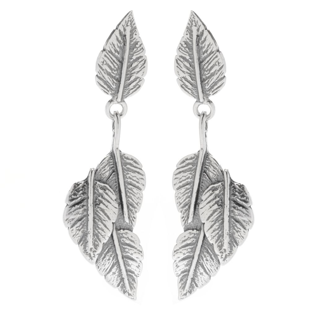 "142-237 - Passage to Israel Sterling Silver 1.75"" Oxidized & Hammered Leaf Drop Earrings"