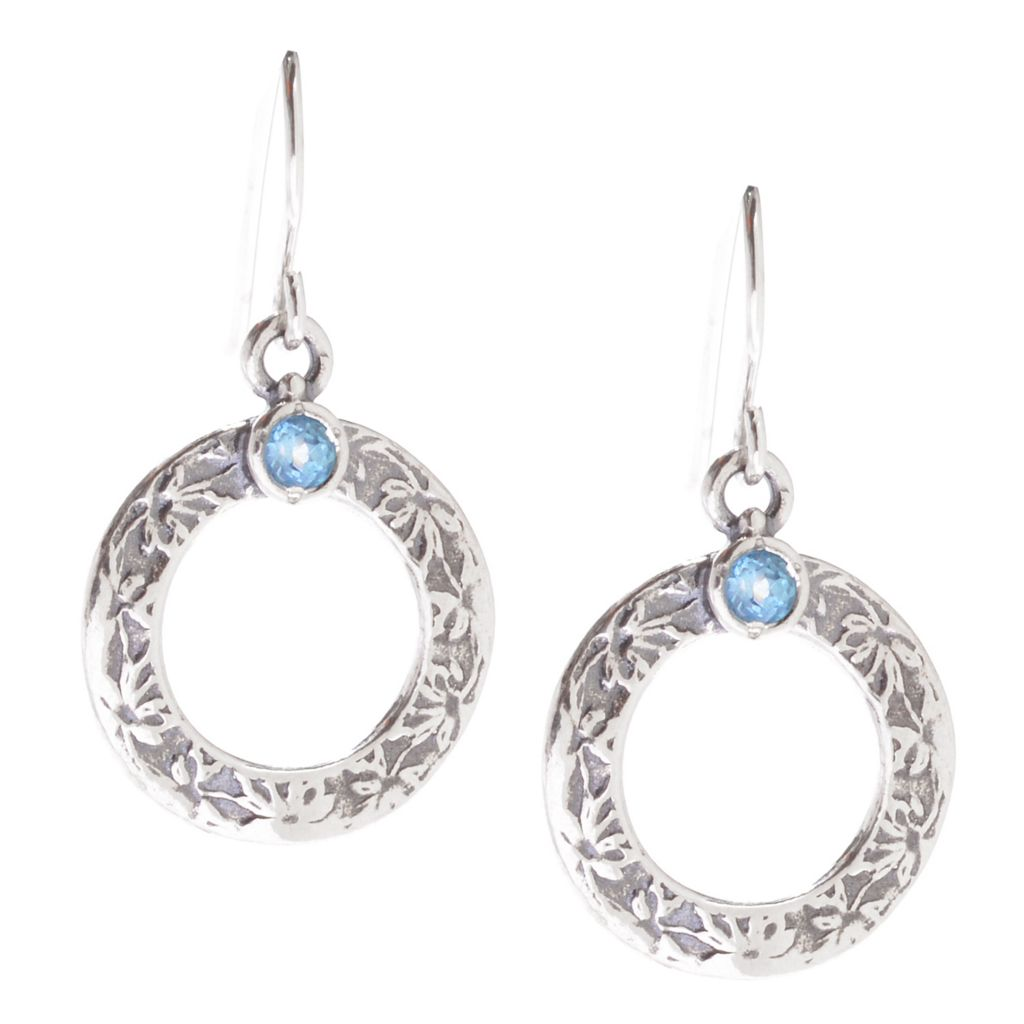 "142-241 - Passage to Israel Sterling Silver 1.25"" Round Gem Textured Circle Drop Earrings"