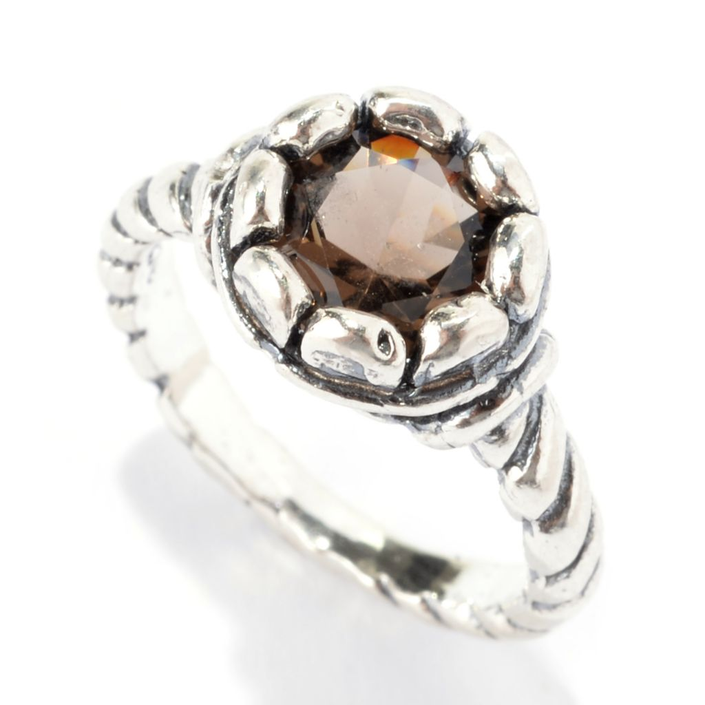142-246 - Passage to Israel Sterling Silver 2.00ctw Round Smoky Quartz Ribbed Shank Ring