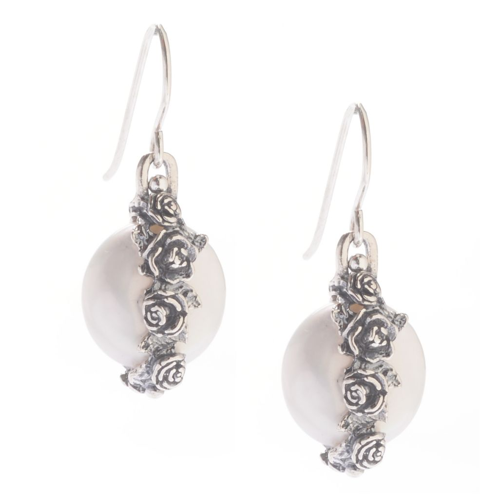 "142-249 - Passage to Israel Sterling Silver 1.25"" 13-14mm Freshwater Cultured Pearl Rose Drop Earrings"