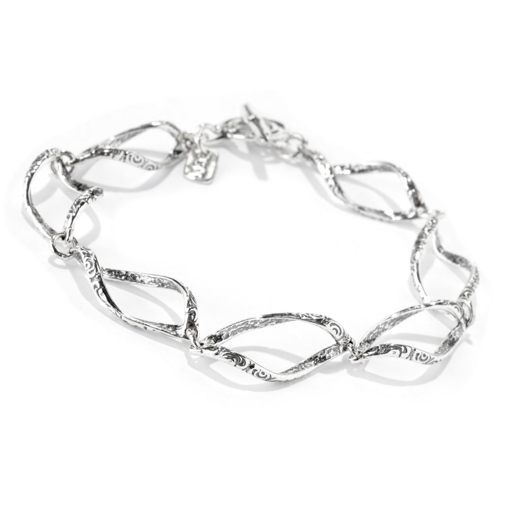 142-250 - Passage to Israel Sterling Silver Textured & Twisted Link Toggle Bracelet