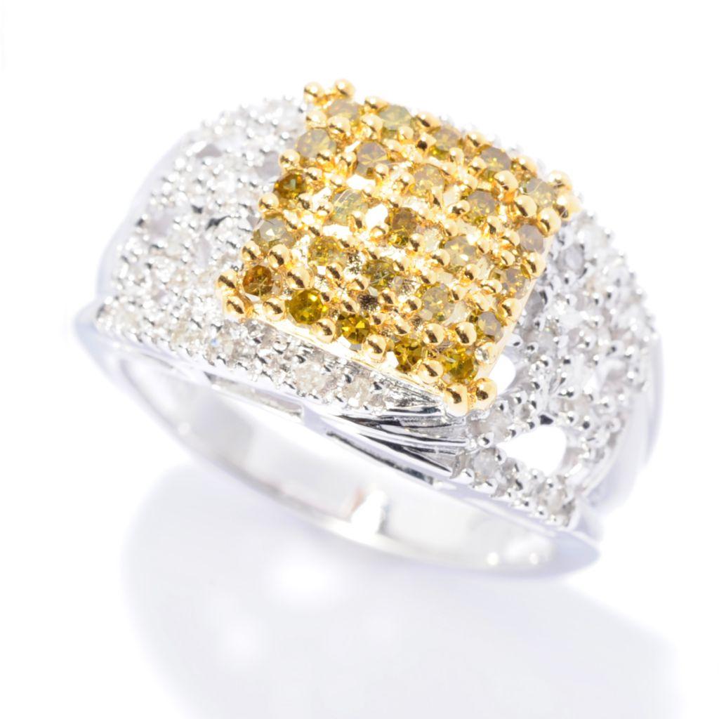 142-251 - Diamond Treasures Sterling Silver 0.45ctw Yellow & White Diamond Pave Square Ring