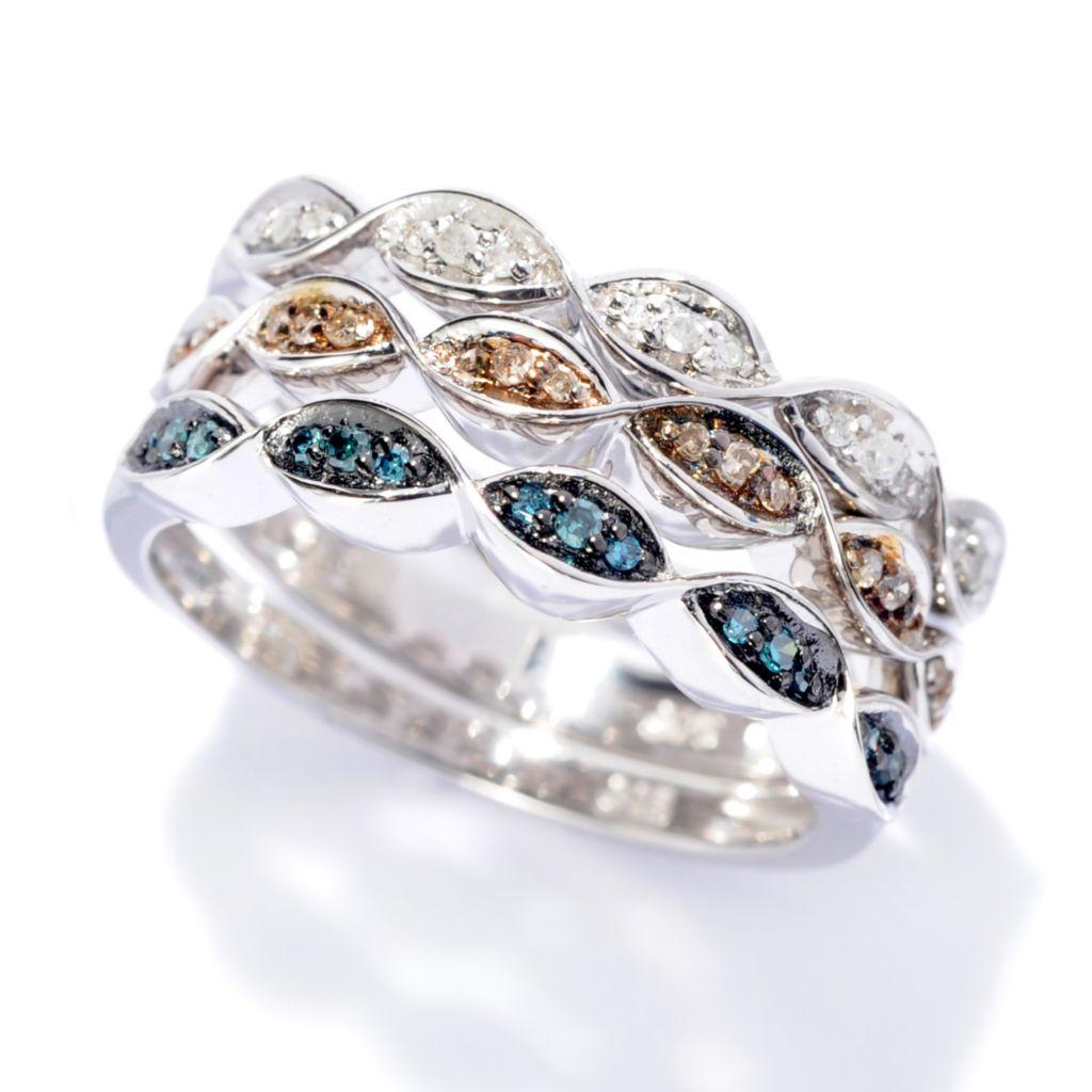 142-252 - Diamond Treasures Set of Three Sterling Silver 0.20ctw Fancy Diamond Rings