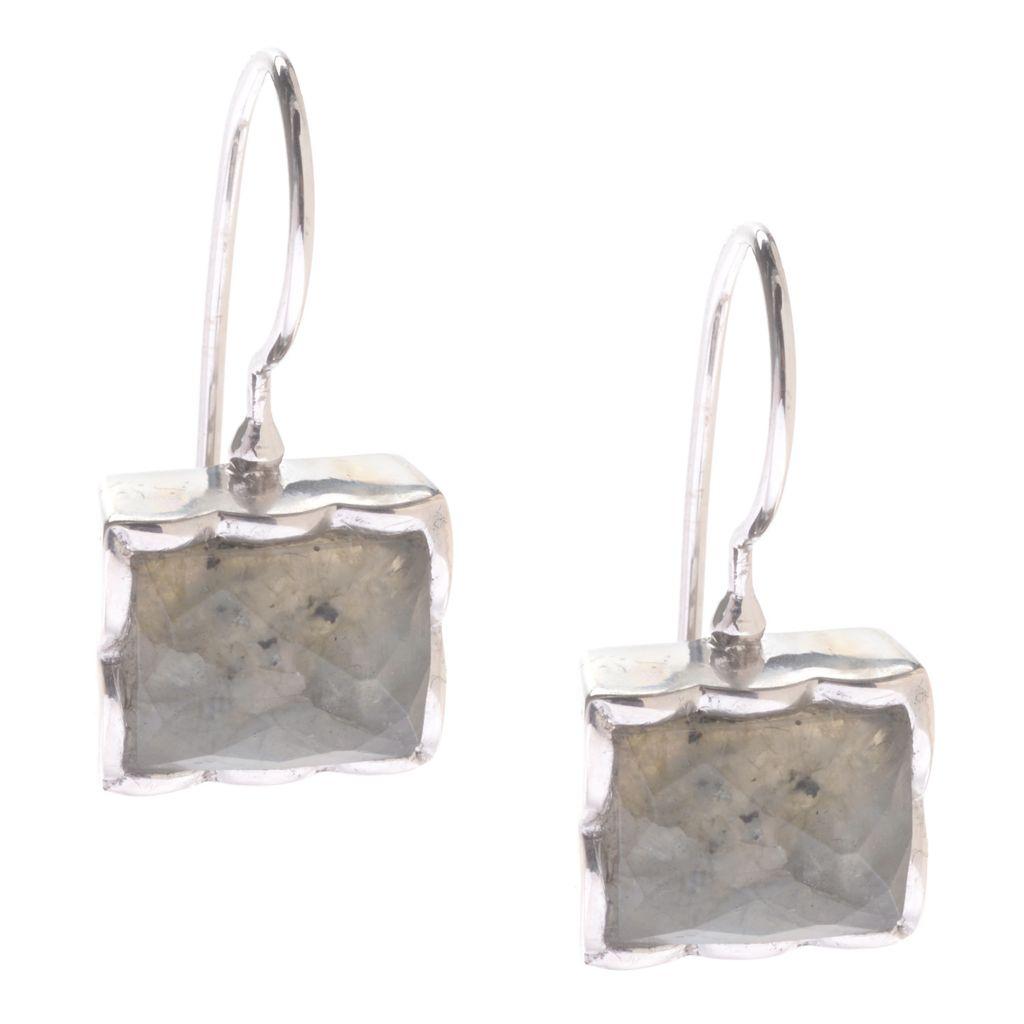 142-255 - Gem Treasures Sterling Silver 10 x 8mm Gemstone Drop Earrings