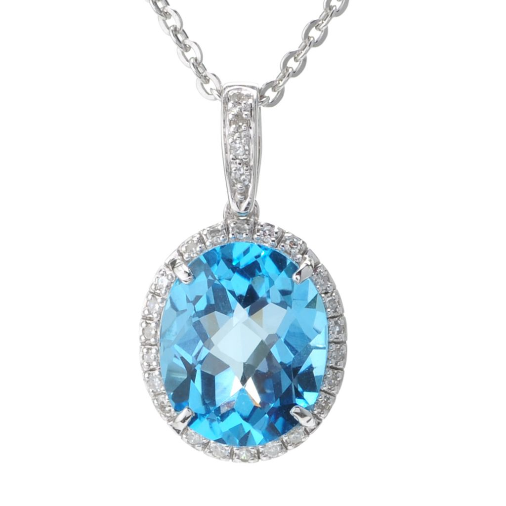 142-256 - Beverly Hills Elegance Sterling Silver 5.00ctw Diamond & Swiss Blue Topaz Oval Pendant