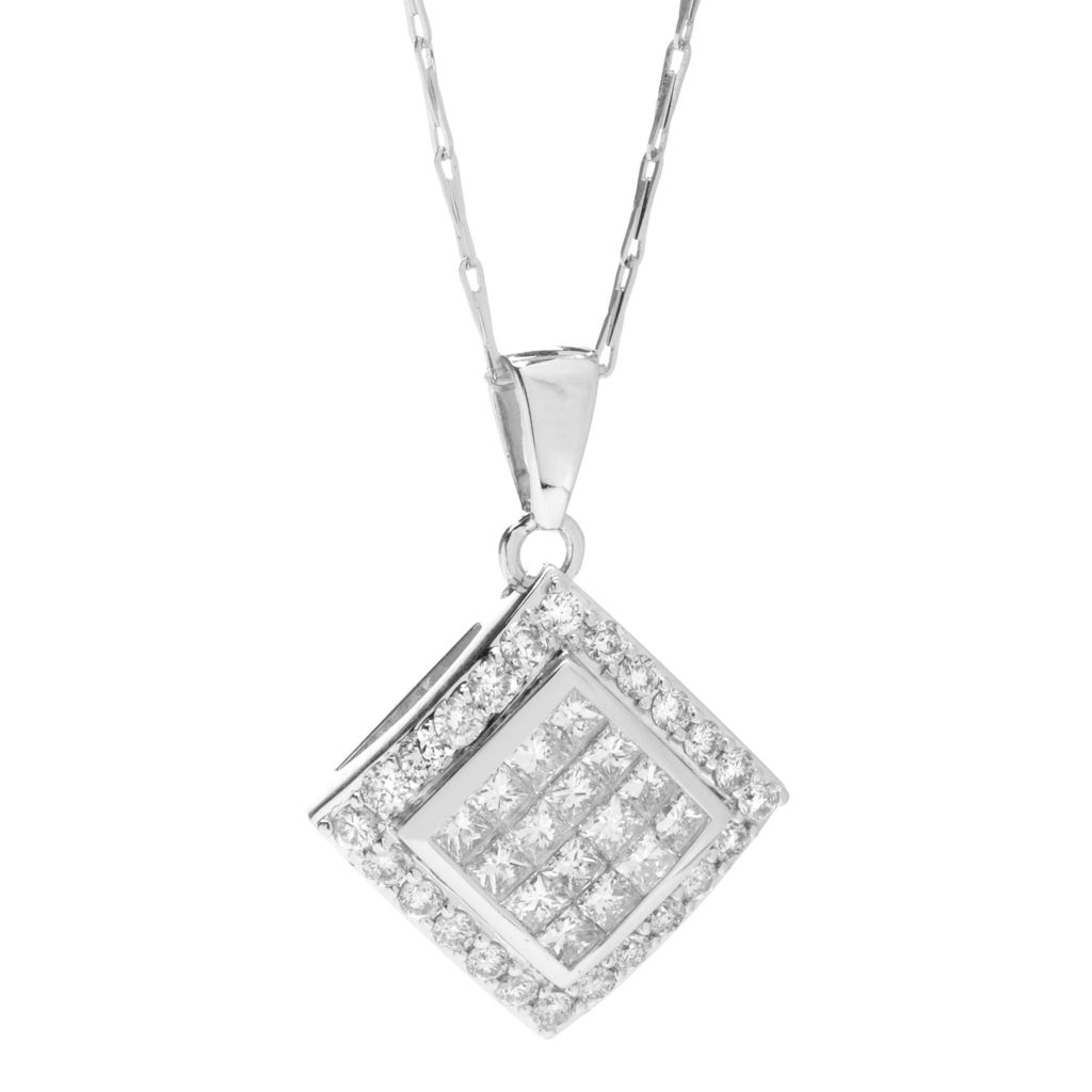 142-257 - Beverly Hills Elegance 14K White Gold 1.00ctw Diamond Angled Square Pendant w/ Chain