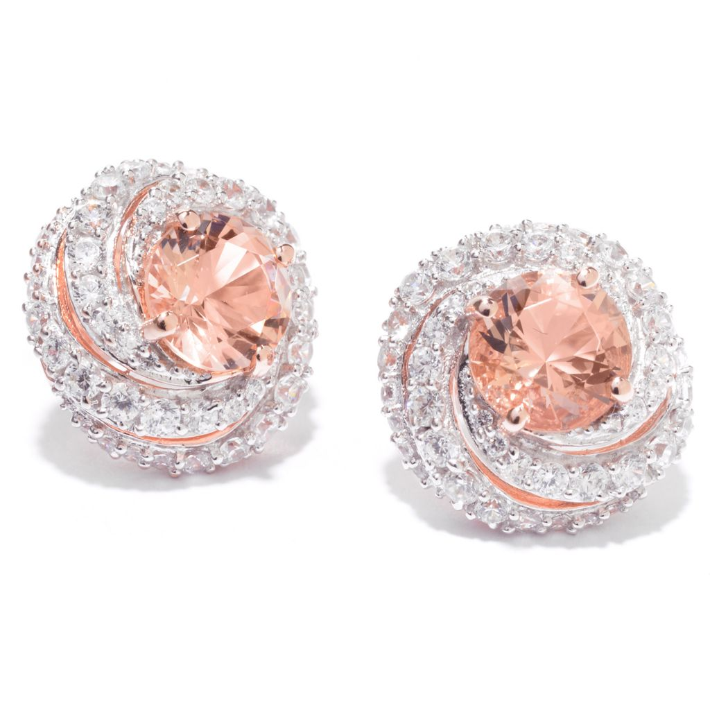 142-258 - Brilliante® 18K Rose Gold Embraced™ Simulated Gem & Simulated Diamond Swirl Earrings
