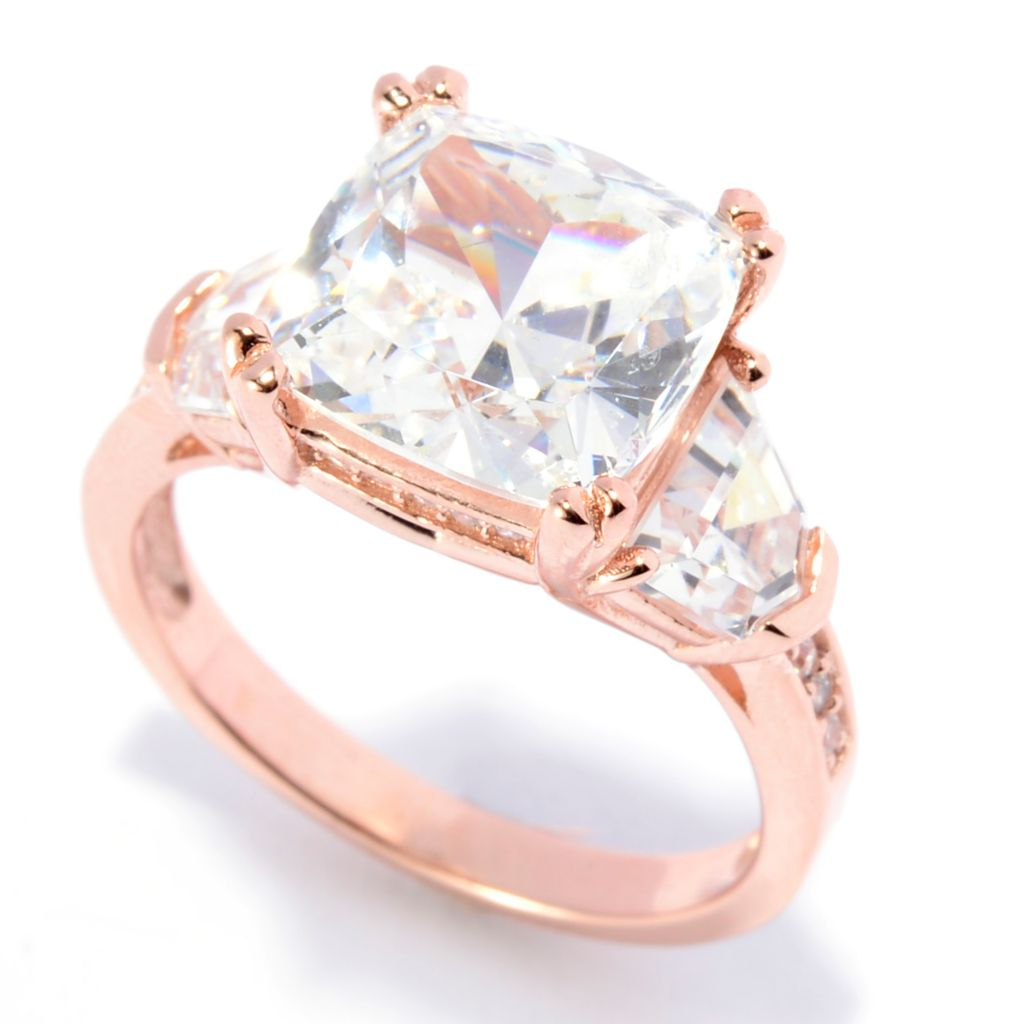 142-259 - Brilliante® 14K Rose Gold Embraced™ 5.16 DEW Simulated Diamond Three-Stone Ring