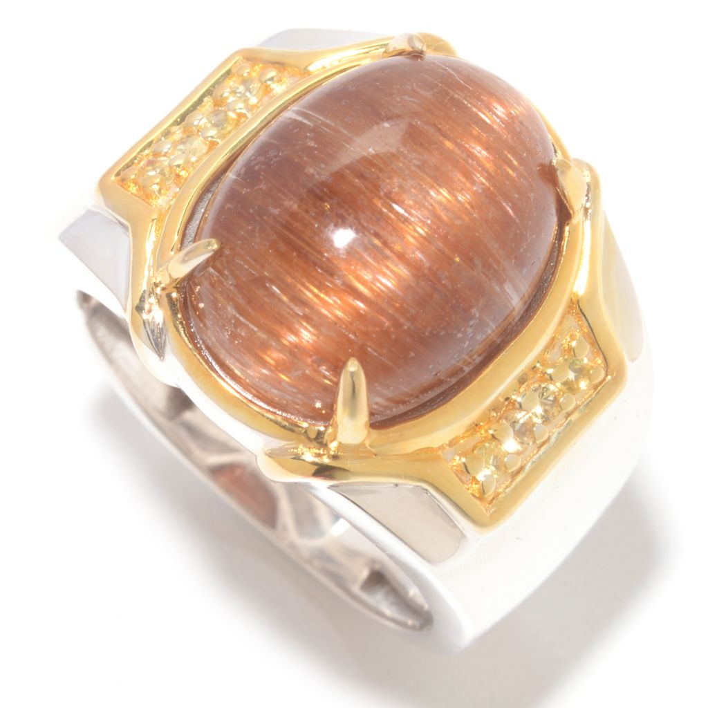 142-262 - Men's en Vogue 16 x 13mm Cat's Eye Quartz & Yellow Sapphire Ring