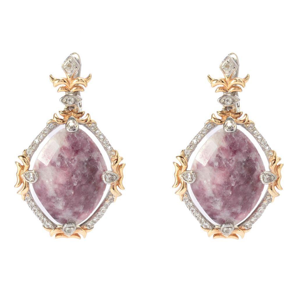 "142-265 - Dallas Prince 1.5"" 20 x 15mm Lepidolite & White Topaz Drop Earrings"