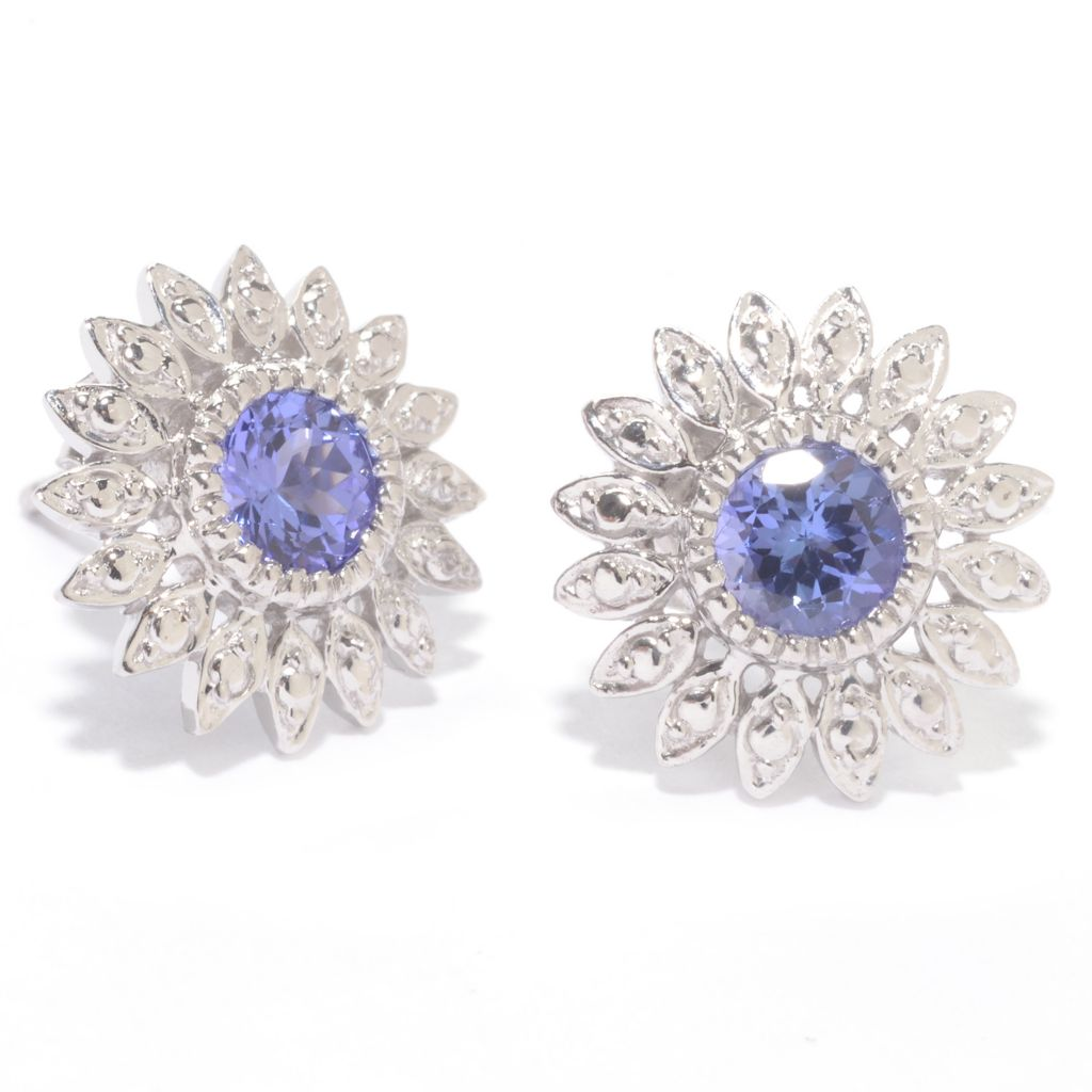 142-266 - NYC II Round Gemstone Textured Flower Stud Earrings