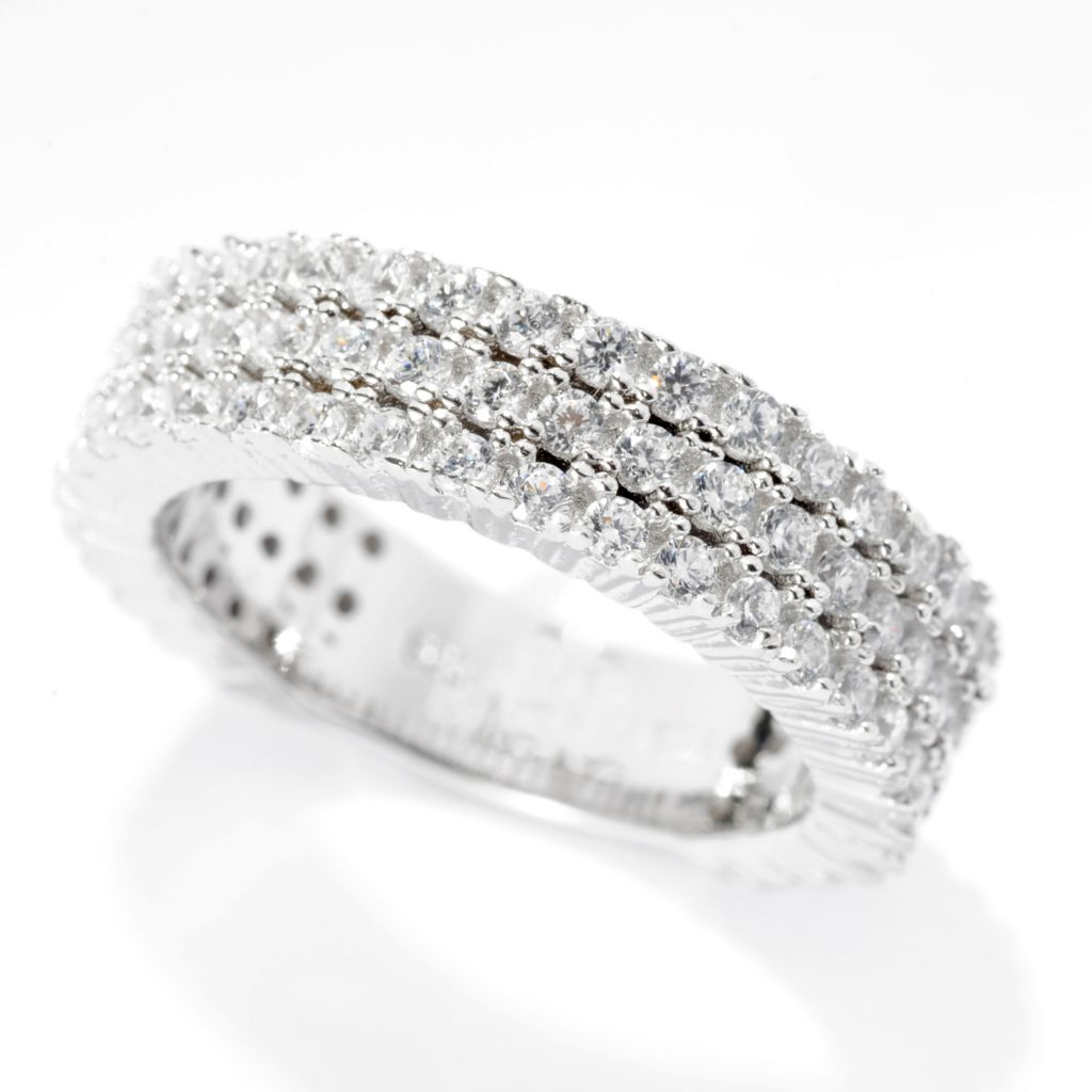 142-275 - Brilliante® 1.31 DEW Round Simulated Diamond Three-Row Stack Ring