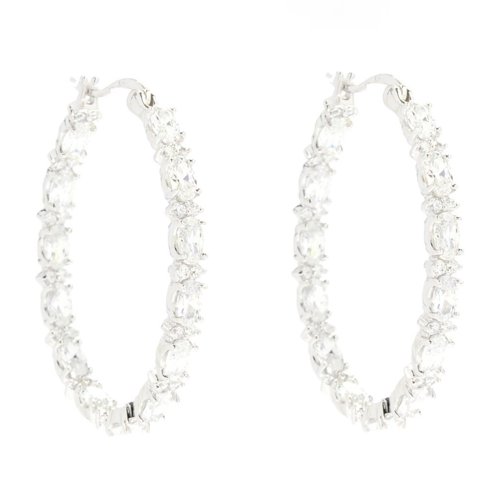 "142-276 - Brilliante® Platinum Embraced™ 1.50"" 6.24 DEW Simulated Diamond Oval Hoop Earrings"