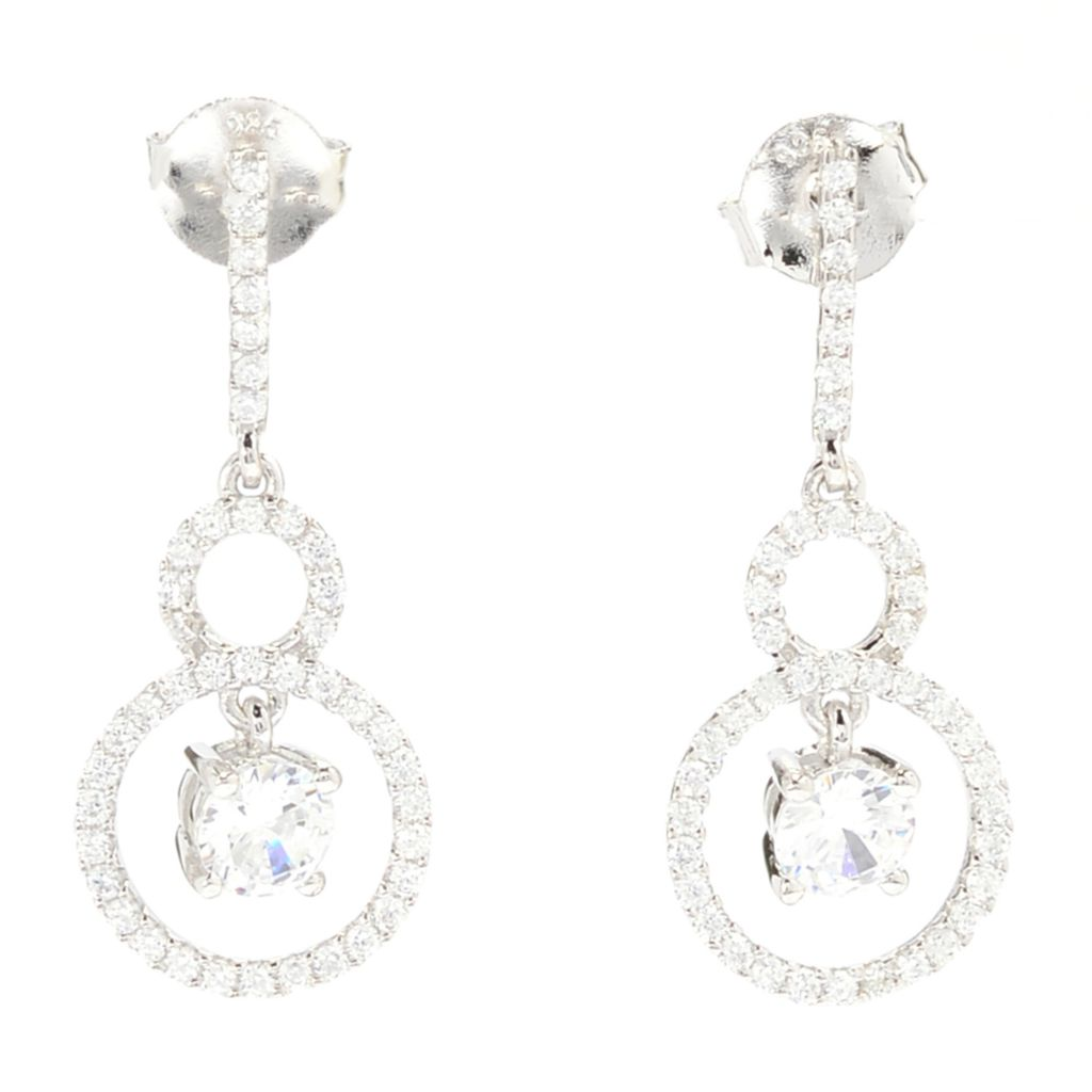 142-277 - Brilliante® Platinum Embraced™ 1.76 DEW Simulated Diamond Double Drop Earrings