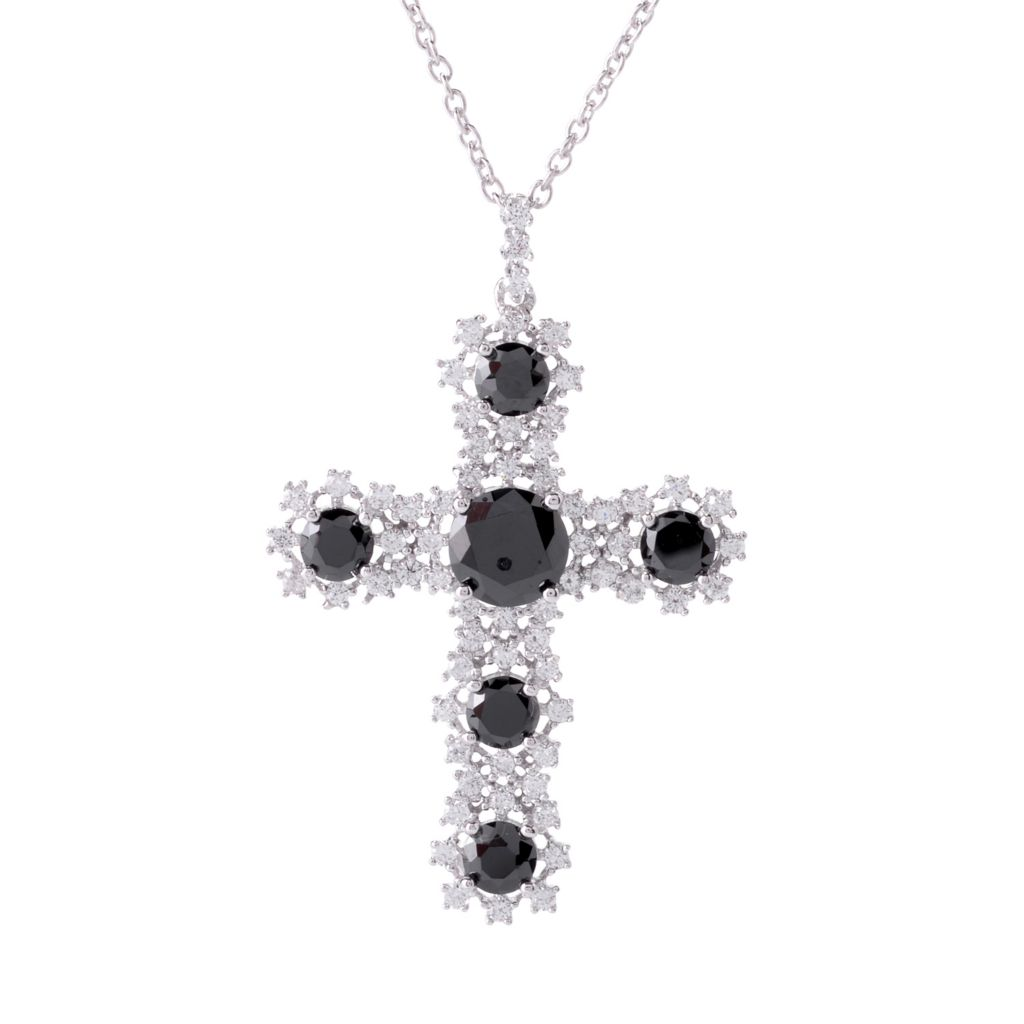 142-278 - Brilliante® Platinum Embraced™ Simulated Onyx & Simulated Diamond Cross Pendant